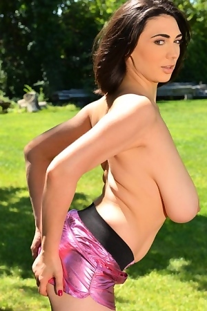 Luna Amor With Huge Tits Posing Outdoors