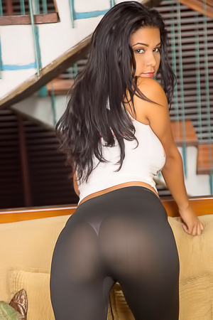 Kendra Roll stripping black pantyhose