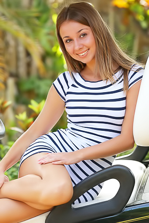 Delicious teen Linda Chase in golf car