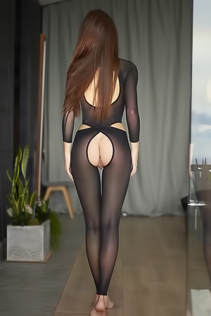 Arina in easy access catsuit