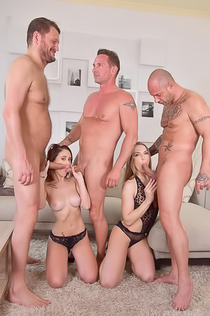 Extreme group sex with blonde Nicole Pearl and some friends