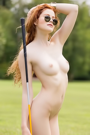 Redhead Model Heidi Romanova Playing Golf
