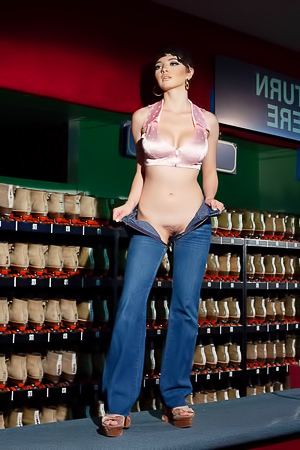 Jay Marie stripping naked at the bowling alley shoe rack