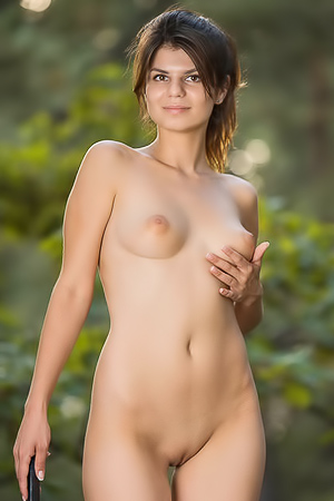Just 18 Girl Davina V Stripping In A Forest