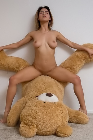 Silly with her teddy bear